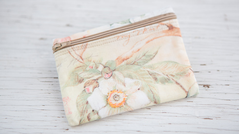Dogwood flowers, birds and dragonflies EO Pouch