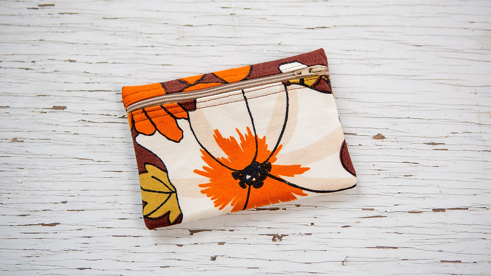 Retro Brown and Orange Floral EO Pouch