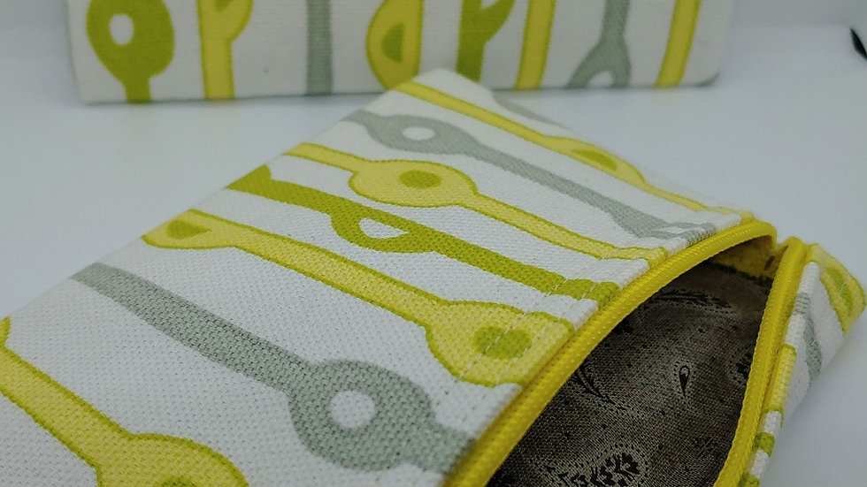 Striped pouch with gray and yellow