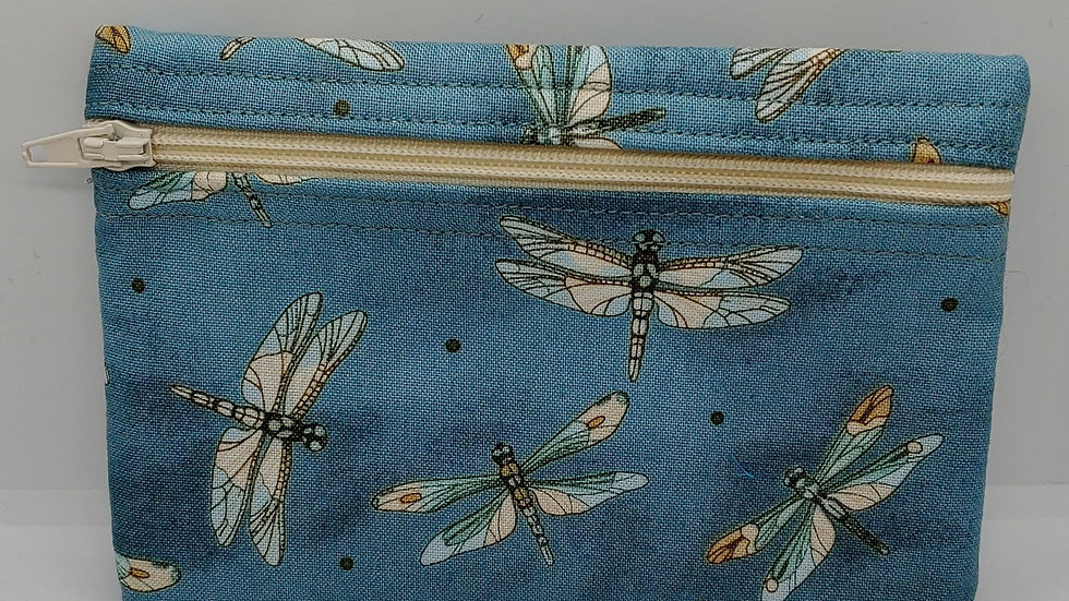 Dragonflies on a denim background pouch