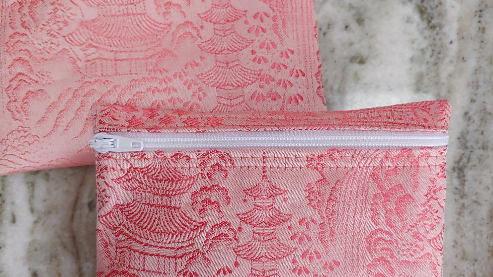 Coral silk pouch made from a Japanese Kimona