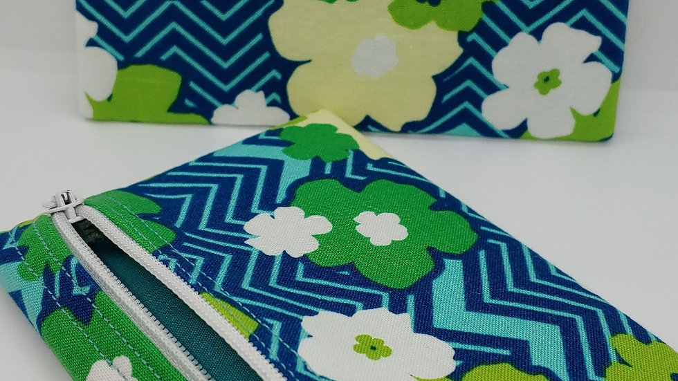 Blue and green flowered pouch