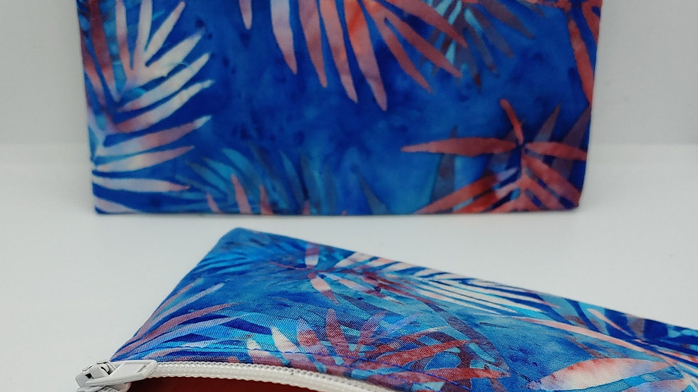 Palms in blue and coral