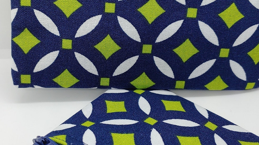 Navy blue and lime green design pouch