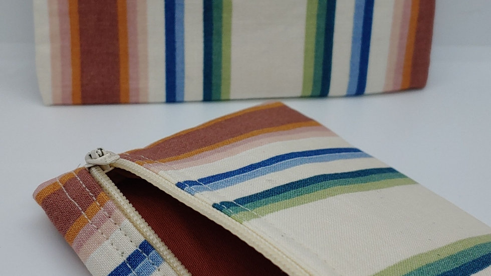 Multicolored striped pouch