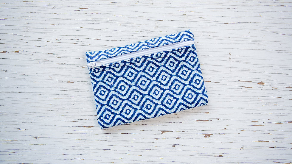 Navy Blue and White Geometric EO Pouch