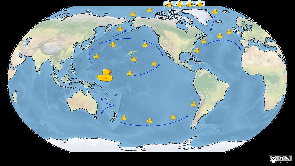 Mapa do mundo com a rota realizada pelos patos de plástico.