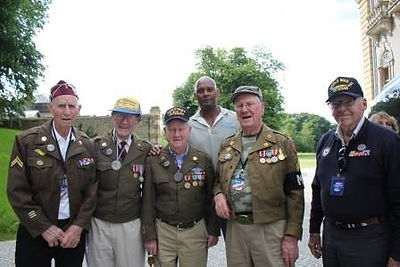 Mike Russell celebrating 70th Anniversary of D-Day with veterans in Normandy, France