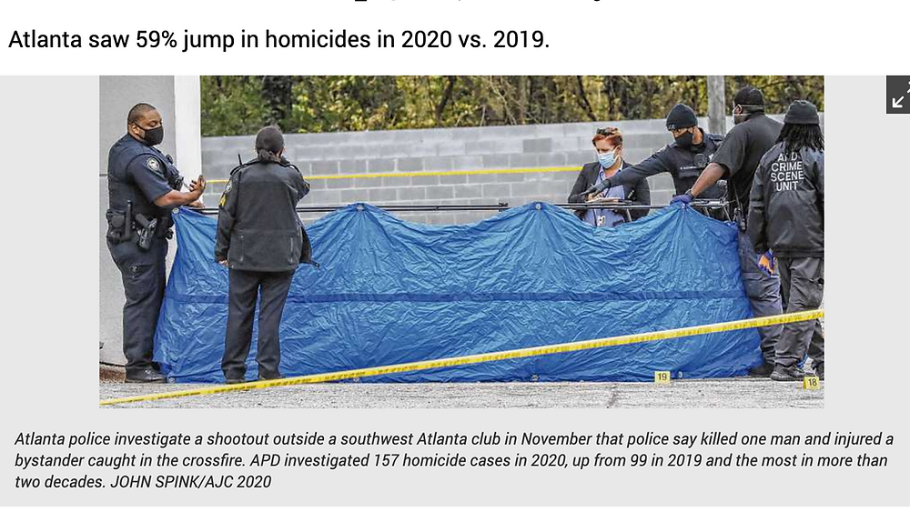 Screenshot of AJC Article titled 59% jump in homicides in 2020 vs 2019