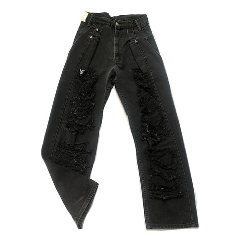 MOMSTYLE VINTAGE RIPPED BLACK JEANS 02