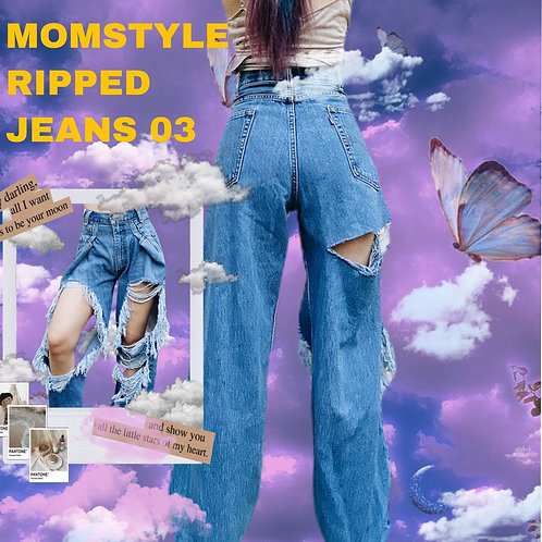 MOMSTYLE  VINTAGE RIPPED JEANS 03