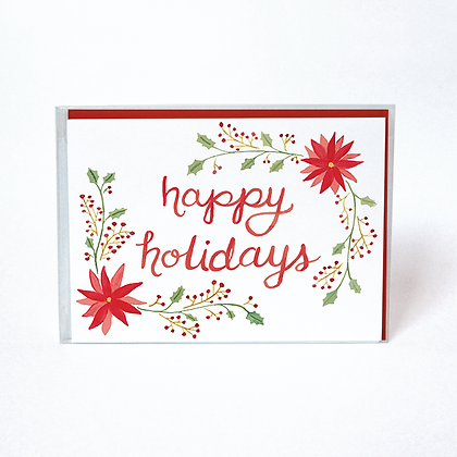 Happy Holidays Poinsettia Boxed Cards