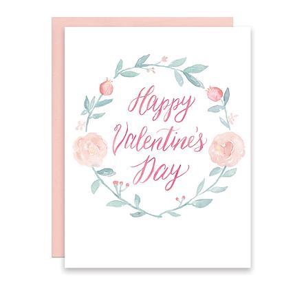 Valentine Floral Wreath Card