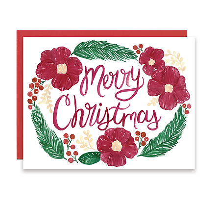 Merry Christmas Floral Border Card