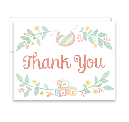 Baby Blocks Thank You Card