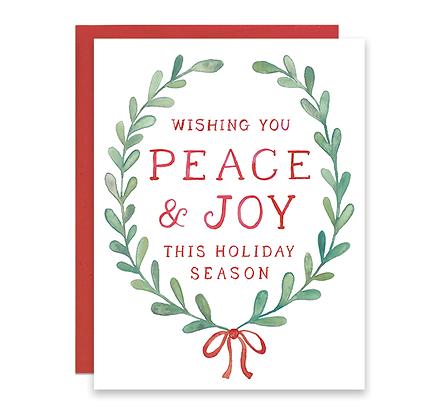 Peace & Joy Laurel Holiday Card