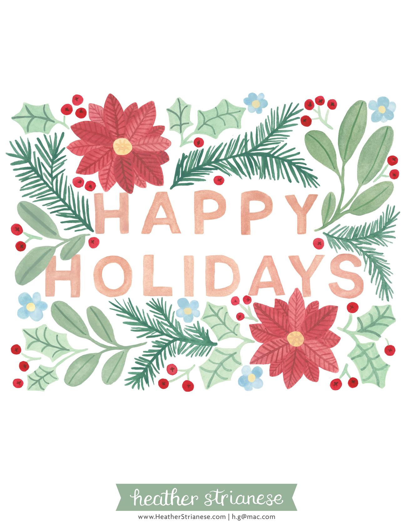 Happy Holidays Floral Block