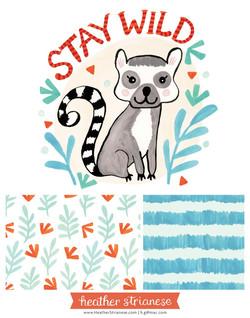 Stay Wild Lemur Illustration