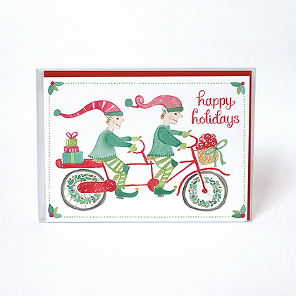 Biking Elves Boxed Holiday Cards