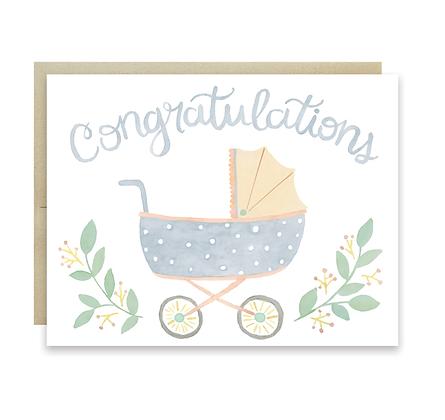 Baby Carriage Congrats Card