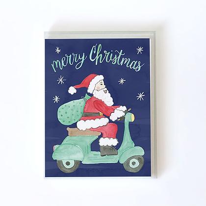 Santa Riding Vespa Boxed Holiday Cards