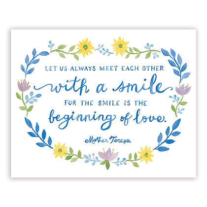 Smile Quote by Mother Teresa Art Print
