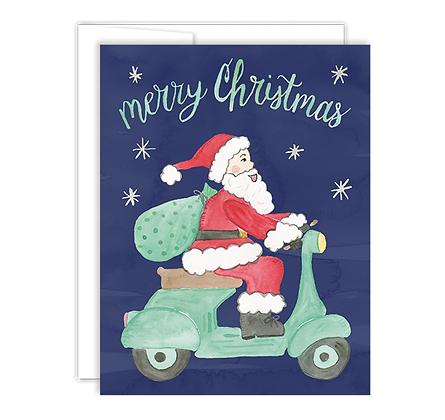 Santa Riding Vespa Holiday Card