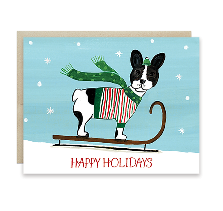 Sledding French Bull Dog Holiday Card
