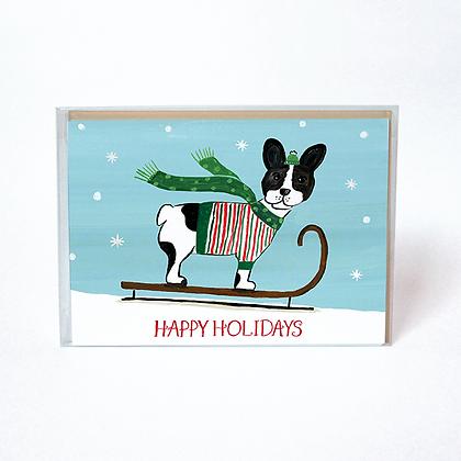 Sledding French Bull Dog Boxed Holiday Cards