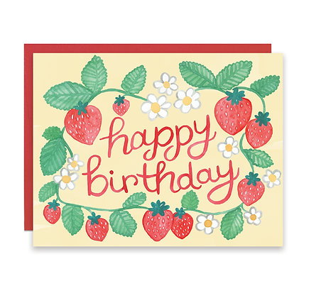 Strawberry Happy Birthday Card