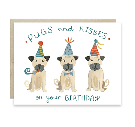 Pugs and Kisses Birthday Card