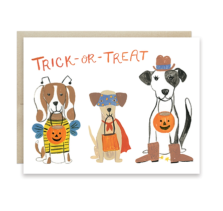 Puppies Trick-Or-Treat Card