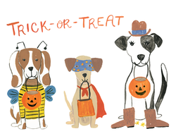 Trick or Treat Dogs in Costumes