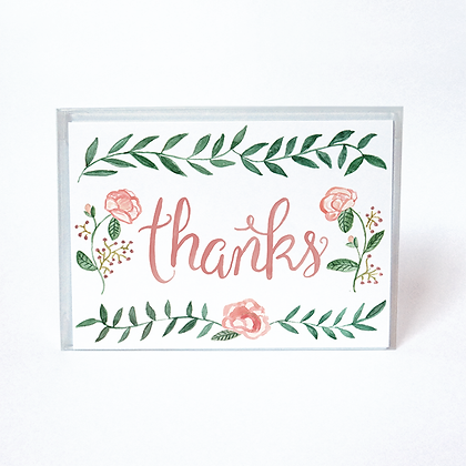 Watercolor Rose Boxed Thank You Cards