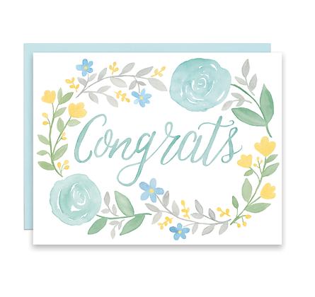 Floral Wreath Congrats Card