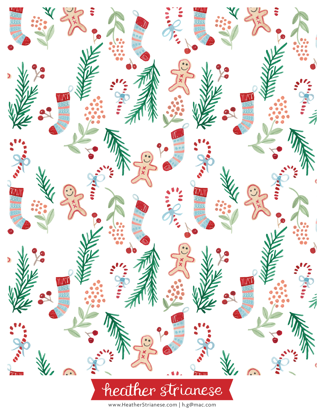 Gingerbread and Candy Cane Pattern