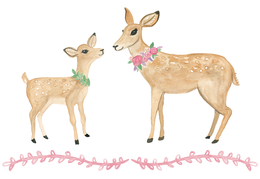 Deer and Fawn Watercolor