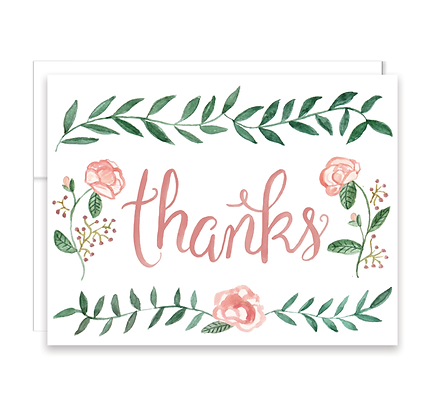 Watercolor Rose Thank You Card