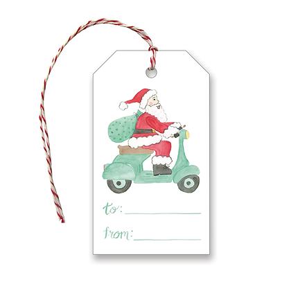 Santa Riding Vespa Gift Tags