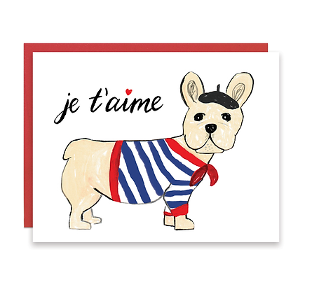 Je T'aime French Bull Dog Card