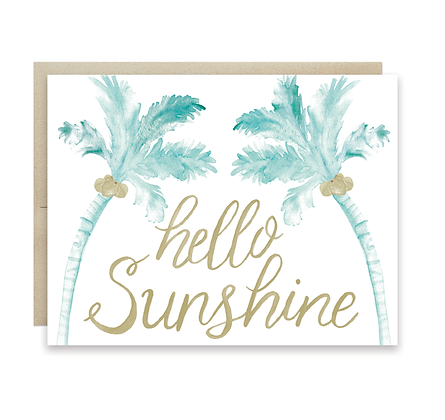 Hello Sunshine Palm Trees Card