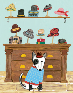 Dog in Hat Shop