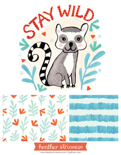 Stay Wild Lemur Illustration