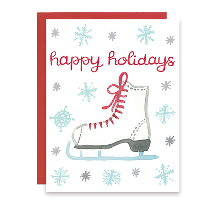 Ice Skate Happy Holidays Card