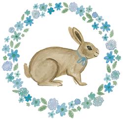 Rabbit in Blue Wreath