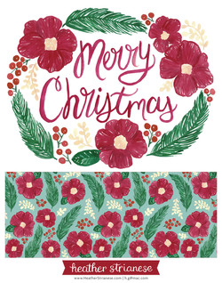 Merry Christmas Floral Wreath