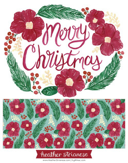 Merry Christmas Floral Wreath