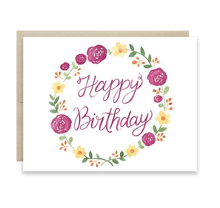 Floral Birthday Wreath Card