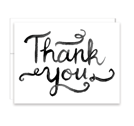 Watercolor Script Thank You Card