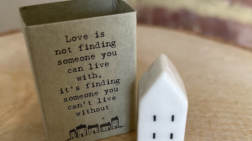 White Ceramic House in Match Box - Love Is